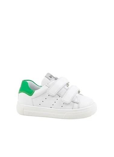 Kids A More Papillon Çift Cırtlı Deri Unisex Çocuk Ayakkabı Beyaz-Yeşil Yeşil